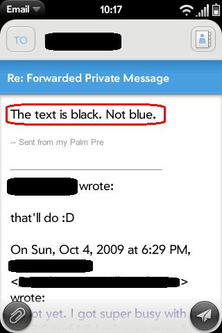 Replies/Forwards Black Font Screenshot 0