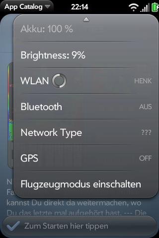 GSM 3G GPS and Brightness in Device Menu Screenshot 0
