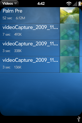 All videos are viewable on the device via the Palm OEM video application